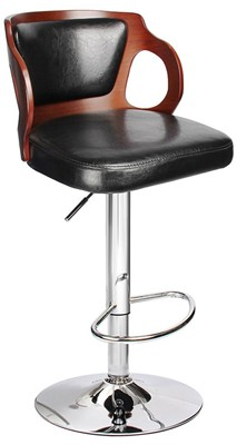 Homall Walnut Bentwood Adjustable Bar Stool - swivel bar stool with backrest